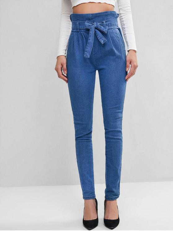 best Pockets Belted Paperbag Jeans - BLUE S