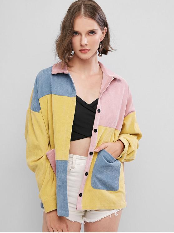 latest ZAFUL Colorblock Corduroy Shirt - MULTI-A XL