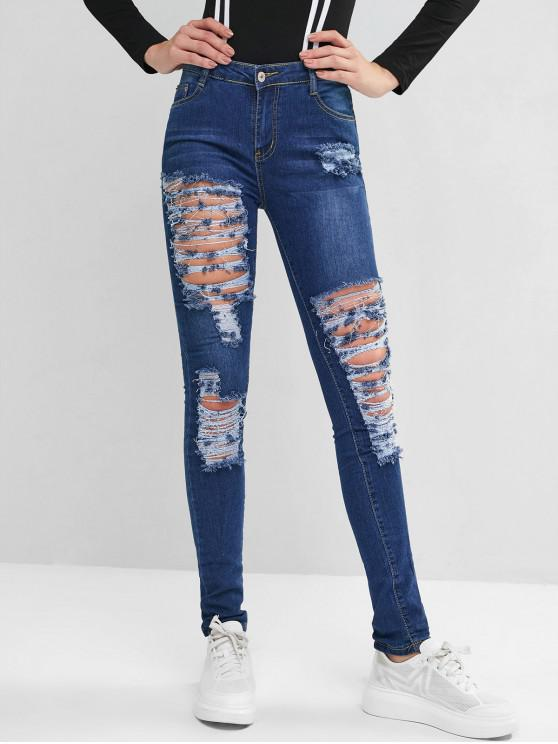sale Mid Rise Destroyed Skinny Jeans - BLUE 2XL