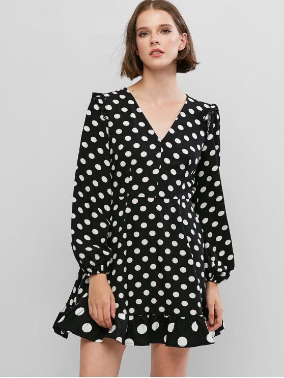 lady ZAFUL Polka Dot Lantern Sleeve Mini Ruffled Hem Dress - BLACK XS