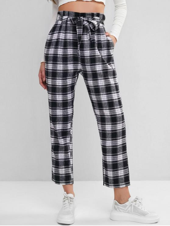 best Plaid Belted Straight Paperbag Pants - MULTI-A S