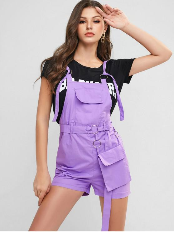 ladies Pocket Belted O Ring Embellished Pinafore Romper - PURPLE M