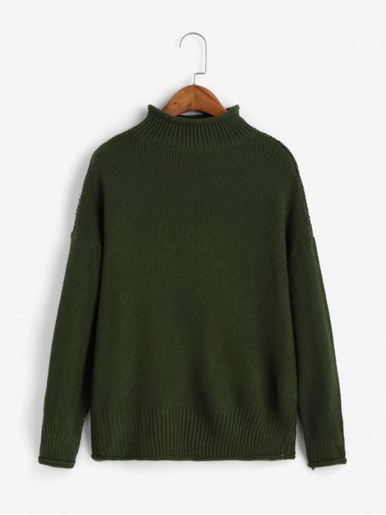 fashion Solid Pullover Mock Neck Drop Shoulder Sweater - DARK FOREST GREEN ONE SIZE