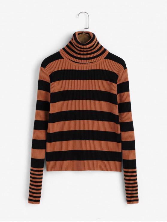 fancy Turtleneck Contrast Stripes Pullover Sweater - HALLOWEEN ORANGE ONE SIZE