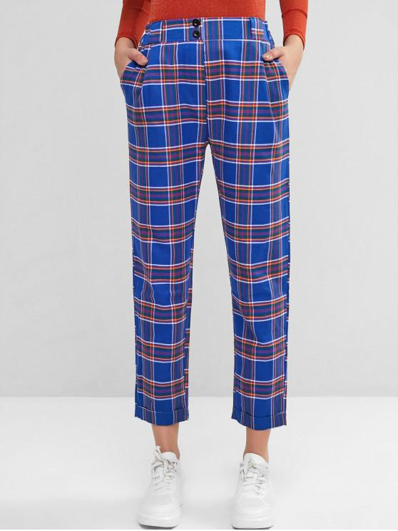 women High Waisted Plaid Buttoned Straight Pants - BLUE S