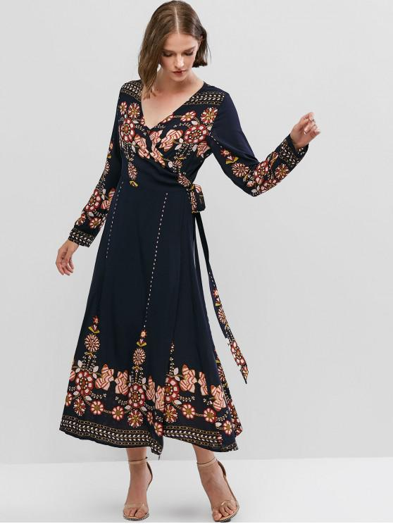 ladies ZAFUL Flower Print Long Sleeve Knotted Wrap Dress - CADETBLUE M
