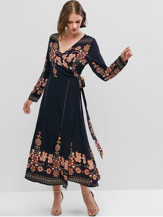 shops ZAFUL Flower Print Long Sleeve Knotted Wrap Dress - CADETBLUE XL