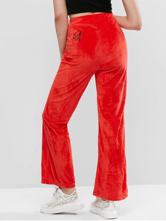 unique Letter Embroidered Velvet High Waisted Wide Leg Pants - RED S