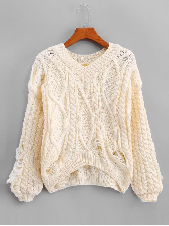 unique Ripped Chunky Cable Knit Drop Shoulder Sweater - CORNSILK ONE SIZE