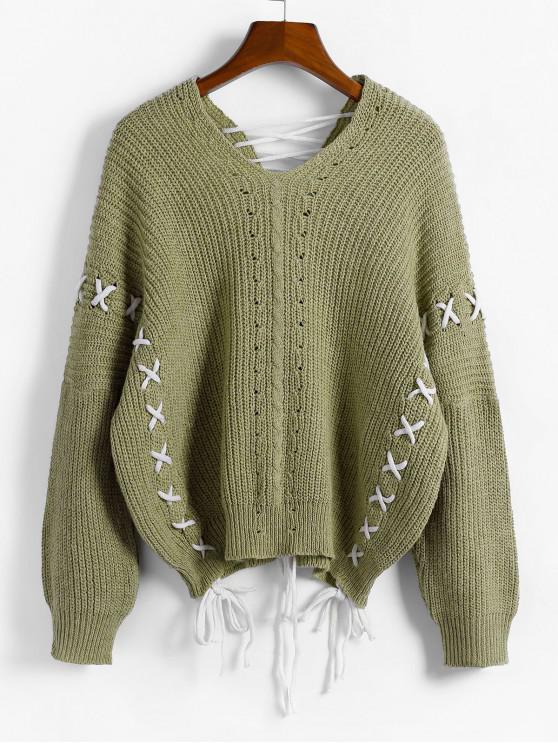 hot ZAFUL x Yasmine Bateman Lace Up V Neck Open Knit Sweater - ARMY GREEN M