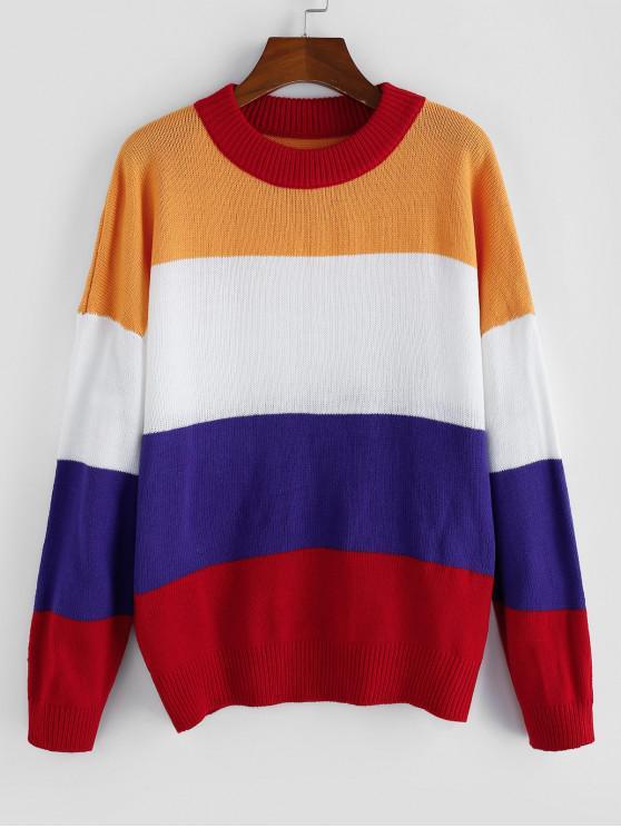 Spalla ZAFUL Colorblock goccia jumper Maglioni - Multi Colori-D S