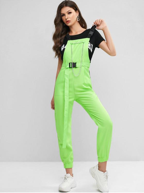 shops Chain Embellished Front Pocket Belted Pinafore Jumpsuit - GREEN L