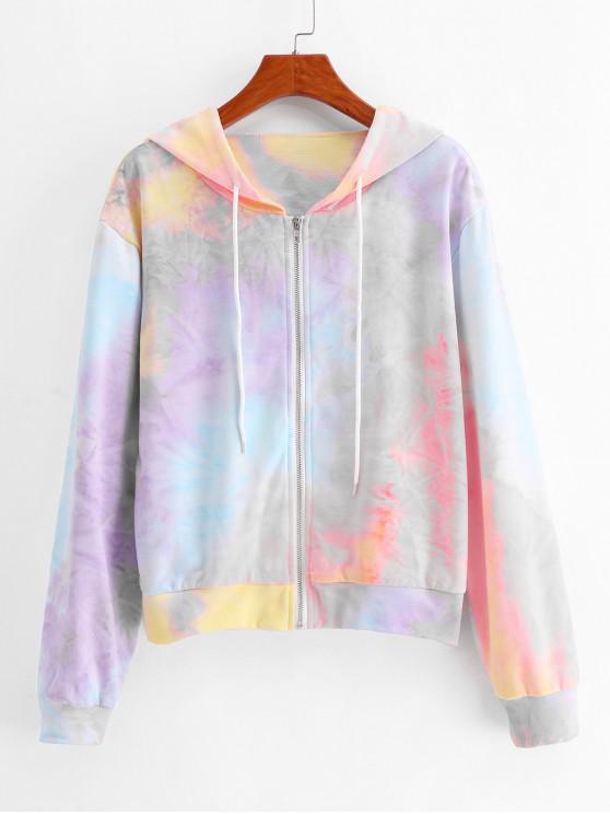ladies ZAFUL Drawstring Zip Up Colorful Tie Dye Hoodie - MULTI L