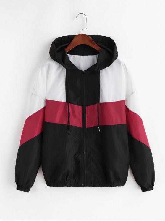 Со шнуровкой Цветной блок Молния Ветронепроницаемая Куртка - Многоцветный-A L