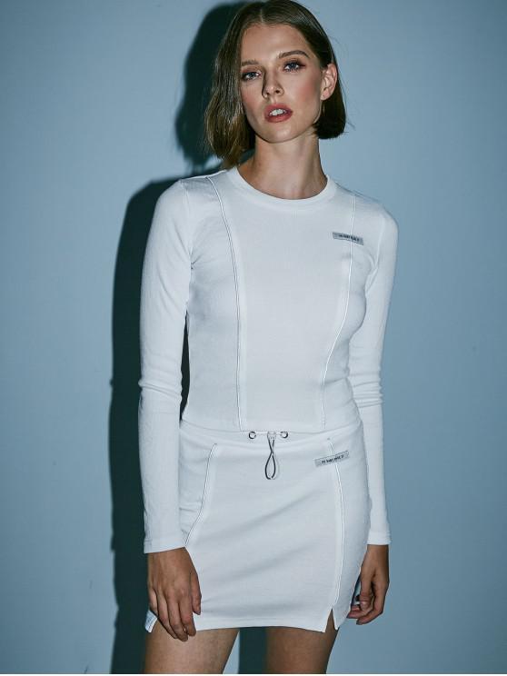 trendy Letter Piping Slit Drawstring Skirt Set - WHITE S