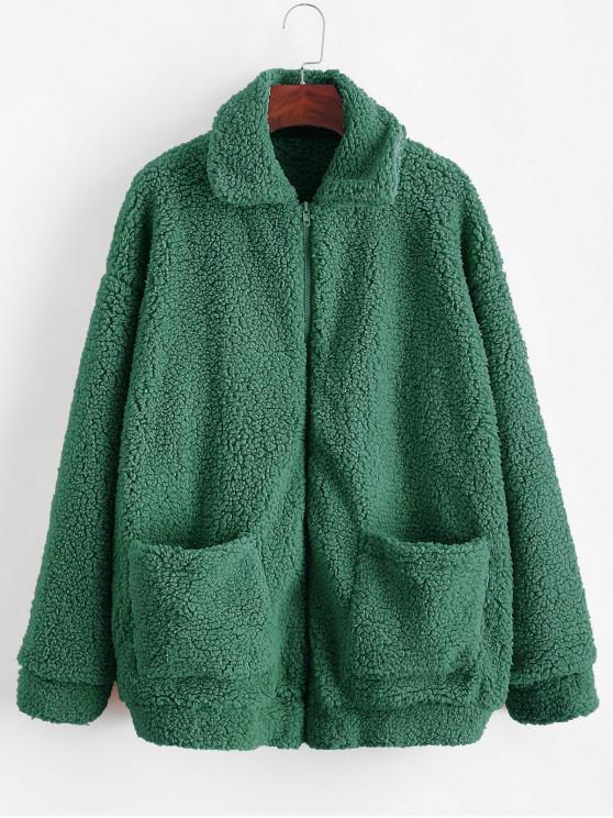 womens ZAFUL x Yasmine Bateman Pocket Zipper Drop Shoulder Fluffy Teddy Coat - GRAYISH TURQUOISE XL