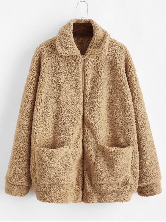 fashion ZAFUL x Yasmine Bateman Pocket Zipper Drop Shoulder Fluffy Teddy Coat - BROWN SUGAR M