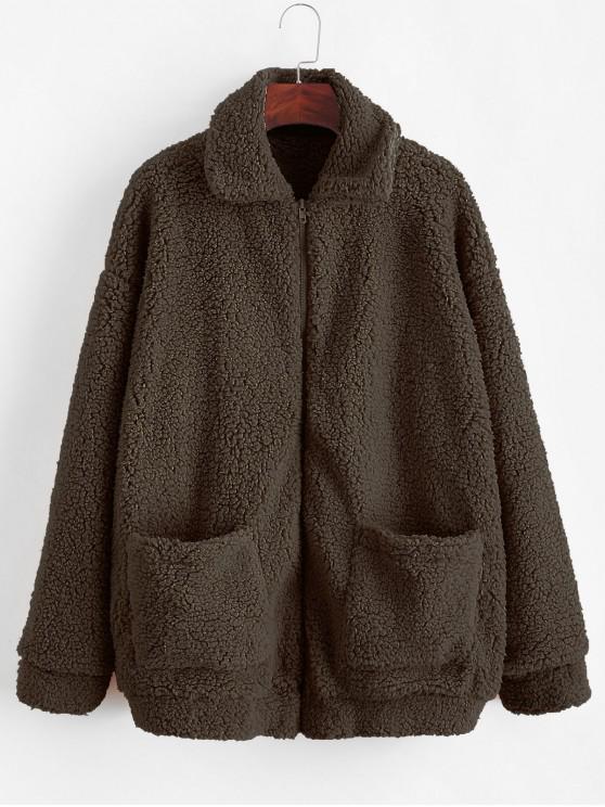 ZAFUL x Spalla Yasmine Bateman tasca con cerniera goccia Fluffy Teddy Coat - caffè S
