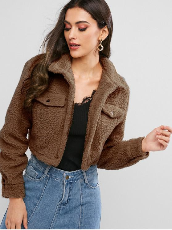 buy ZAFUL Snap Button Teddy Cropped Jacket - COFFEE M