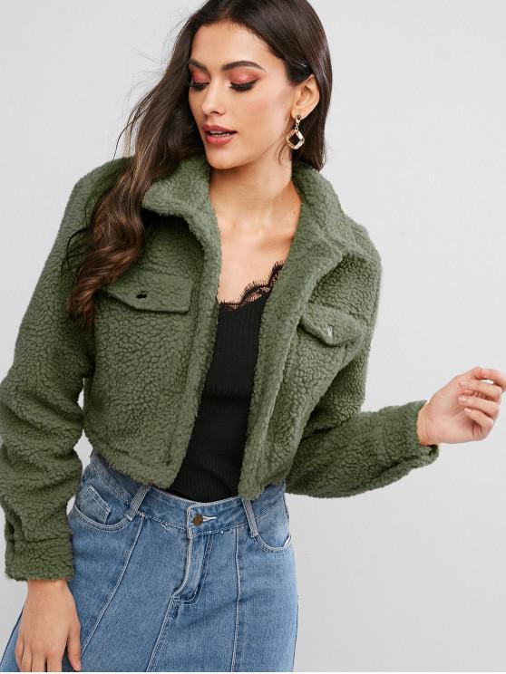 lady ZAFUL Snap Button Teddy Cropped Jacket - ARMY GREEN XL