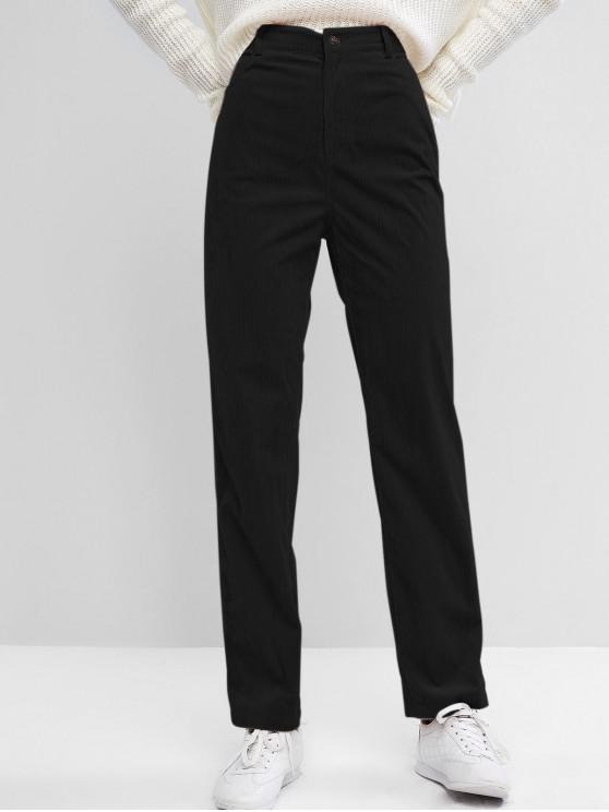 Hot Salezaful High Waisted Corduroy Pants   Black S by Zaful