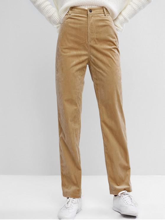 Hot Salezaful High Waisted Corduroy Pants   Wood S by Zaful