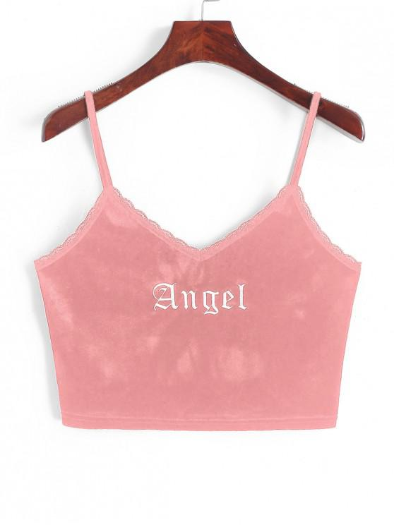 best ZAFUL Angel Embroidery Lace Trim Velvet Top - LIGHT PINK M