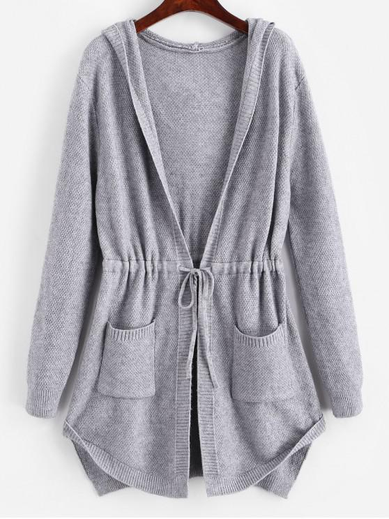 fashion Longline Hooded Drawstring Pockets Cardigan - GRAY ONE SIZE