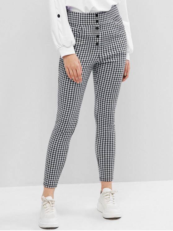 ZAFUL tela escocesa de Impresión frontal Pantalones Botón Lápiz - Multicolor-A L