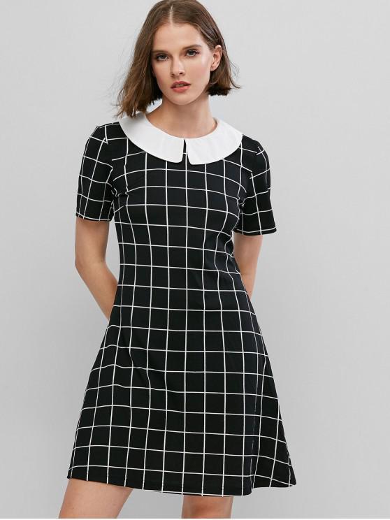 ladies ZAFUL Grid Print Peter Pan Collar Mini Dress - BLACK L