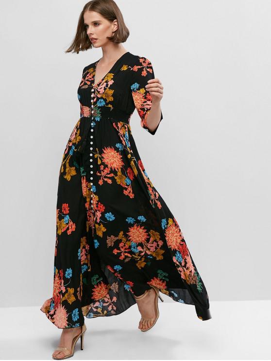 lady ZAFUL Buttons Slit Floral Vacation Maxi Dress - BLACK L