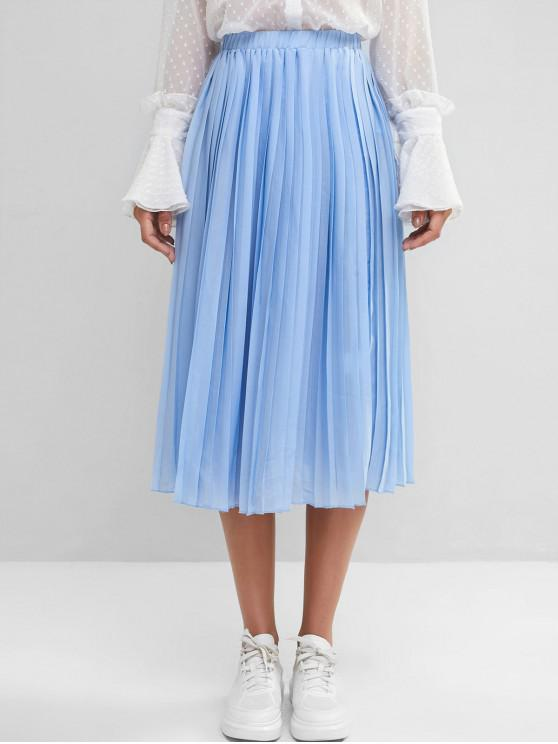 women's ZAFUL Pleated A Line Midi Skirt - DAY SKY BLUE M