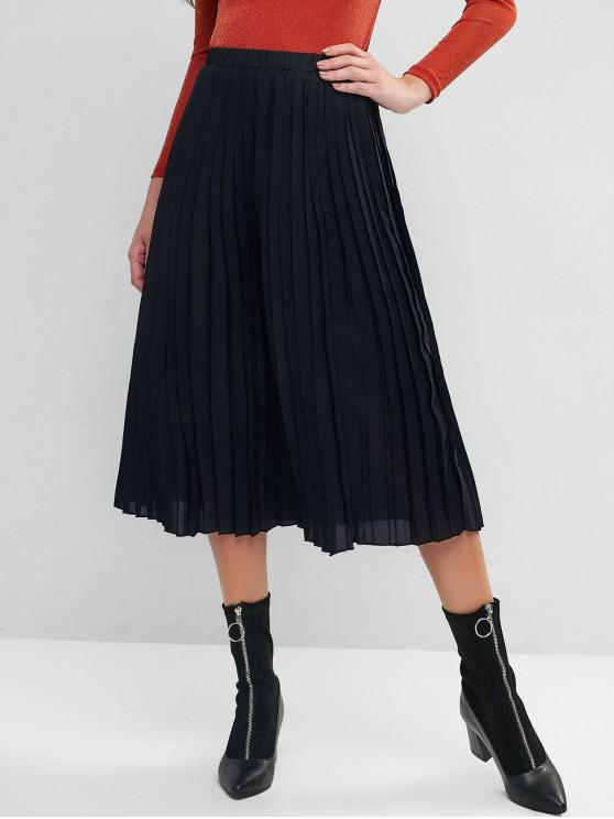 trendy ZAFUL Pleated A Line Midi Skirt - BLACK L