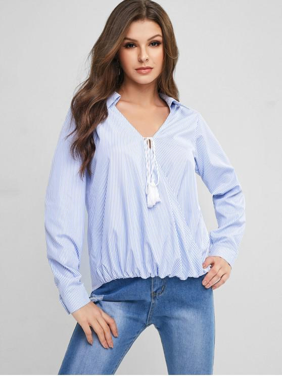 ladies ZAFUL Striped Crossover Surplice Tassel Tied Blouse - DAY SKY BLUE XL