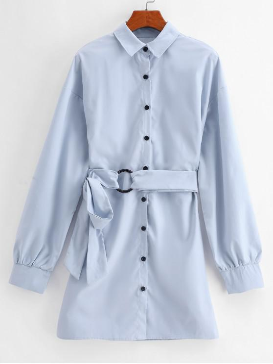 new Long Sleeve Tie Waist Work Shirt Dress - BABY BLUE M