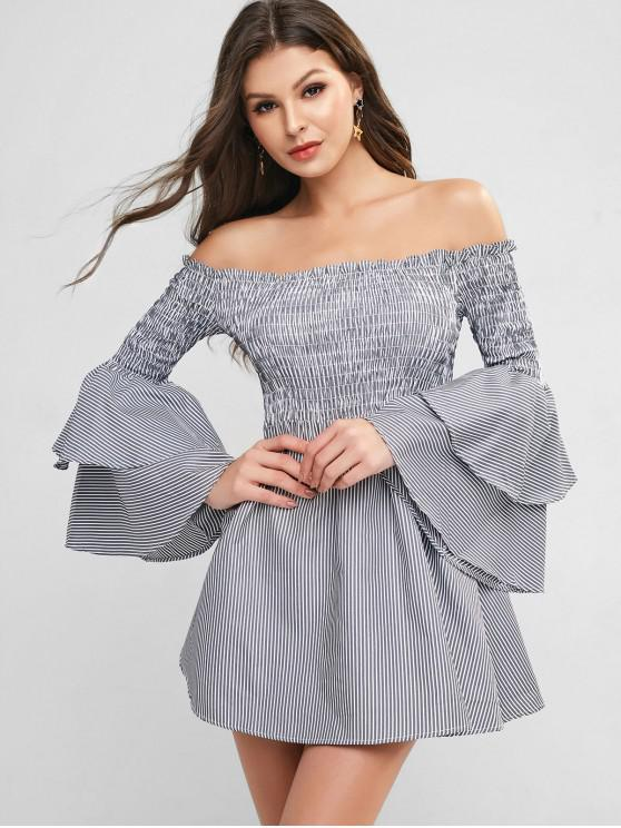 fashion Smocked Stripes Layered Sleeve Off Shoulder Dress - MULTI-A 3XL