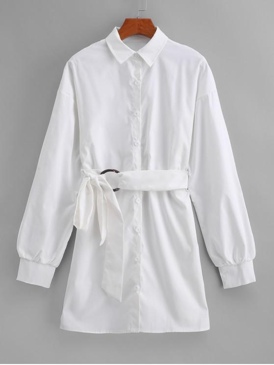 shop Long Sleeve Tie Waist Work Shirt Dress - WHITE S