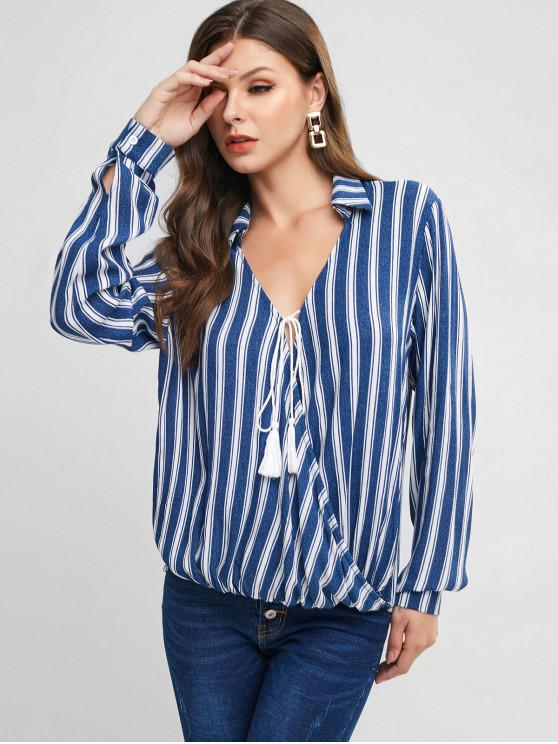 buy ZAFUL Striped Crossover Tassel Tied Blouse - MULTI-A M