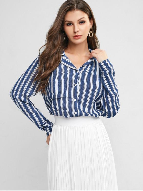ZAFUL solapa de rayas en el pecho Botón de bolsillo Hasta la blusa - Multicolor-A XL