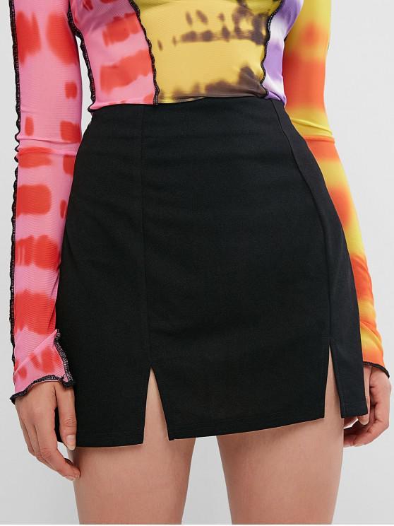 ZAFUL hendidura mini falda - Negro XL