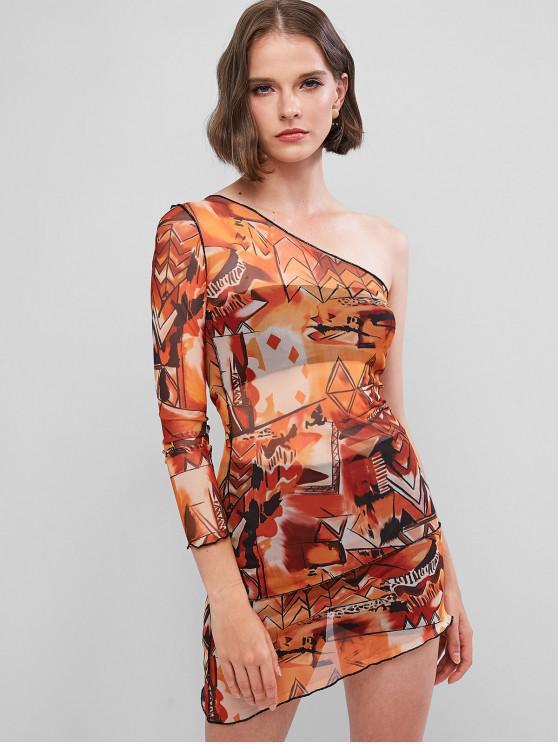 ladies One Shoulder Mesh Asymmetrical Tight Dress - MULTI M