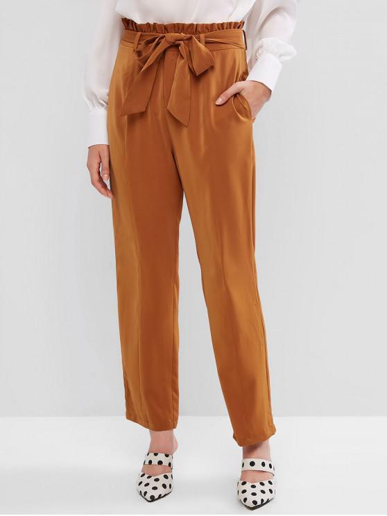 sale ZAFUL Peg Leg Double Pocket Paperbag Pants - DARK GOLDENROD M