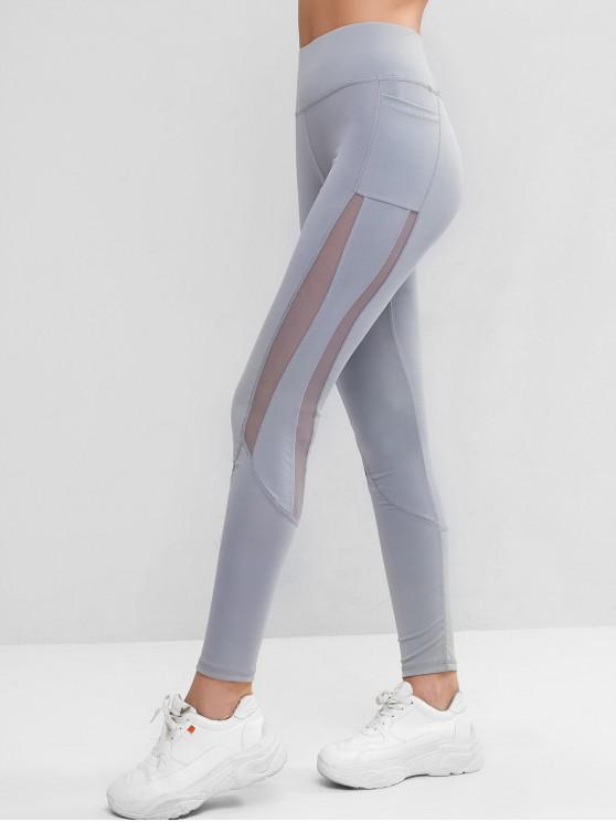 outfits Side Pockets Mesh Insert High Waisted Leggings - LIGHT GRAY S