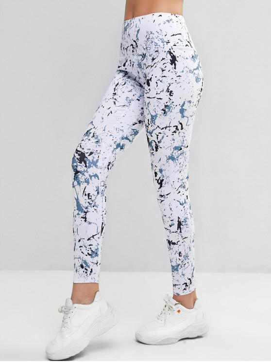 outfits Marble Wide Waistband Topstitching Leggings - WHITE XL