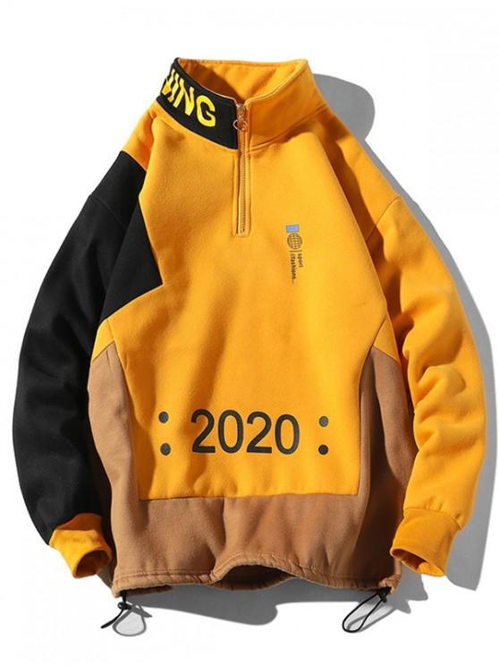 latest Letter Graphic Colorblock Spliced Half Zipper Sweatshirt - RUBBER DUCKY YELLOW L