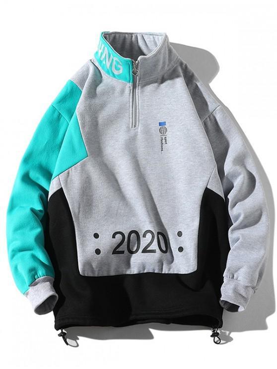 women Letter Graphic Colorblock Spliced Half Zipper Sweatshirt - GRAY CLOUD 2XL