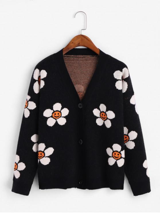 fancy Drop Shoulder Button Up Floral Graphic Cardigan - BLACK ONE SIZE