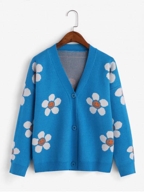 Drop Shoulder Button Up Floral Graphic Cardigan BLACK CRYSTAL BLUE RED