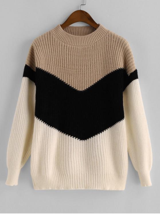 Medio Cuello Colorblock suéter suéter - Multicolor-C Talla única