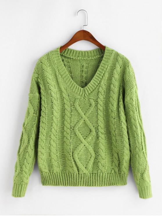 Gota hombro Cable Knit V cuello jersey suéter - Guisantes Verdes Talla única